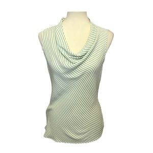 Banana Republic Green & White Striped Top Medium